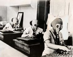 Bookkeepers prepare for a gas attack in Odessa, Russia, via Vintage Everyday Gas Mask Girl, Build A Better World, Worlds Of Fun, Pretty Pictures, Vintage Images, Warfare, African, History, Masks