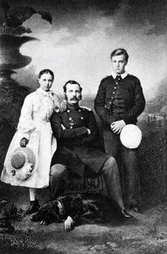 """Emperor Alexander II of Russia with his children GD Alexander Alexandrovich, GD Maria Alexandrovna and with his setter """"Milord"""". 1860s. #Russian #history #Romanov"""