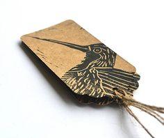 Lino Printed Hummingbird Bird Gift Tags  by HandmadeandHeritage, £1.50