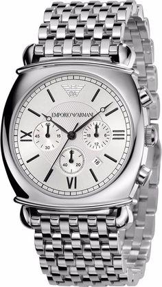 NEW Emporio Armani Men Luxury Watch AR0315 Silver Chronograph Stainless Steel #EmporioArmani #Casual
