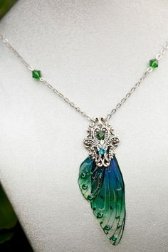 Ballybog Fairy wing Necklace Silver by fairystitchfactory on Etsy