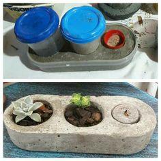 Cement Flower Pots, Diy Concrete Planters, Diy Planters, Cement Art, Concrete Crafts, Concrete Projects, Diy Para A Casa, Papercrete, Diy Furniture Projects