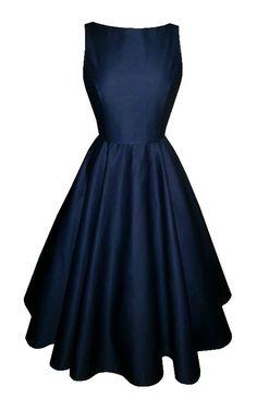 Full circle 'Josie' in navy blue cotton. 1950s vintage style dress.
