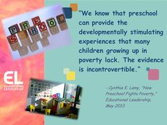 Cynthia E. Lamy's May 2013 EL article on the boost that preschool can provide.