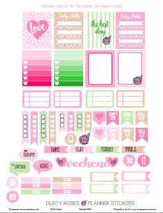 FREE Dusty Roses Planner Stickers | Free printable by Vintage Glam