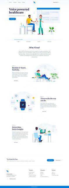 Dribbble - vivaa-design-by-studio-voila.jpg by Julien Renvoye Healthcare Website, Healthcare Design, Clean Web Design, App Design, Design Ideas, Tech Websites, Design Your Own Website, Best Landing Page Design, Ui Web