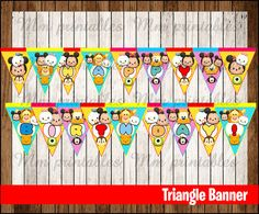 80% OFF SALE Tsum Tsum Triangle Banner instant by mrkitspartyshop