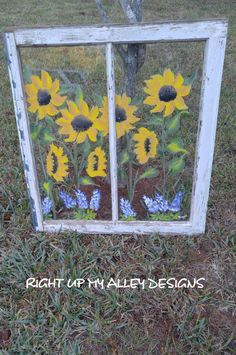 Old painted 2 pane window with Sunflowers and Texas Bluebonnets. Measurements 30 x 27 Brow . Old Windows Painted, Painting On Glass Windows, Antique Windows, Shabby Chic Flowers, Shabby Chic Decor, Rustic Decor, Shabby Chic Farmhouse, Farmhouse Decor, Window Art