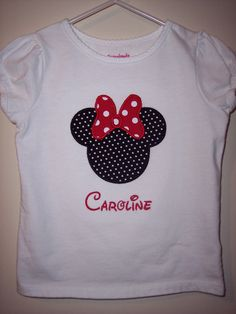 Minnie Mouse or Mickey Mouse applique Tshirt or by SewWhatsGoingOn, $15.00