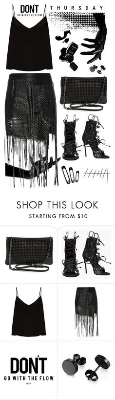 """""""don't go with the flow thursday"""" by ms-wednesday-addams ❤ liked on Polyvore featuring Christian Louboutin, Dsquared2, Raey, Chanel and Magda Butrym"""