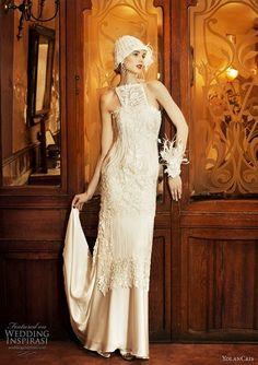 Vintage Wedding Gown Style from YolanCris Wedding Robe, Wedding Dress Chiffon, Lace Mermaid Wedding Dress, Mermaid Dresses, Wedding Gowns, Flapper Wedding, Gatsby Wedding, Wedding Dj, Wedding Blog