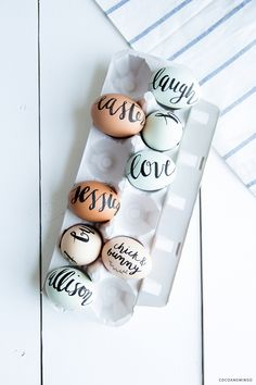 Hand lettered eggs. | http://cocoandmingo.com/2014/04/18/happy-easter-hand-lettered-eggs/#.U1Kyp-ZdXh8