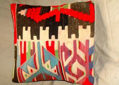 Vintage Turkish Handwoven Kilim Pillow Cover 16x16free by Cultere, $57.00