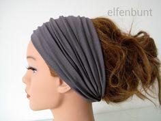 Haarband extrabreit (14 cm) dunkelgrau von  Maria Elfenbunt auf DaWanda.com