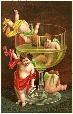 vintage postcard - absinthe