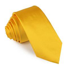 Tuscan Sunflower Skinny Tie - Satin Yellow skinny tie for men Yellow Bow Tie, Sunflower Colors, Slim Tie, Wedding Men, Wedding Suits, Satin Material, Tie And Pocket Square, Skinny Ties, Tie Colors