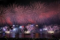October 1, 2017:  Fireworks explode over Hong Kong's Victoria Harbor to celebrate the China's National Day.