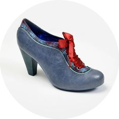 Poetic License Shoes. Backlash Blues with contrast red ribbon laces. Fantastic looking unique shoes, vintage inspired but with a modern twist. Vintage style shoes in stock at Revival Retro.