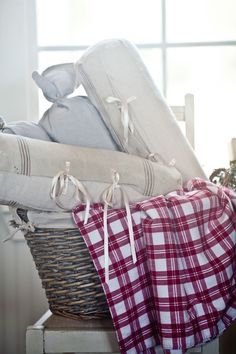 Simple linens are a great way to decorate your home for a Farmhouse Christmas. From Cedar Hill Farmhouse.