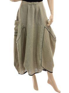 Lagenlook boho balloon parachute linen skirt in nature - Artikeldetailansicht - CLASSYDRESS Lagenlook Art to Wear Women's Clothing