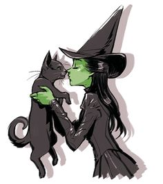 wicked fanart elphaba and a black cat today's last drawing :)