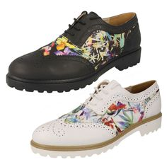 LADIES SPOT ON BROGUES IN WHITE OR BLACK W/ FLORAL PATTERN - STYLE - F9766
