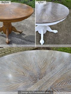 Dining Table (Table Makeover) – Finished Cerused Oak Dining Table (Table Makeover) Website has a nice DIY tutorial.Cerused Oak Dining Table (Table Makeover) Website has a nice DIY tutorial. Dining Furniture, Furniture Projects, Furniture Makeover, Painted Furniture, Painted Oak Table, Dining Rooms, Chair Makeover, Furniture Movers, Painted Kitchen Tables