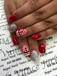 anchor nail designs, anchor nail art, red and white stripe nails, red and white manicure, navy nail art, nautica nails, red manicure, silver nail art, silver glitter nails, bling nails, cute nail art, cute manicure, silver manicure, anchor nails