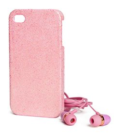 Give your phone some flair with this pink glittery case & earphone set. | H&M Pastels