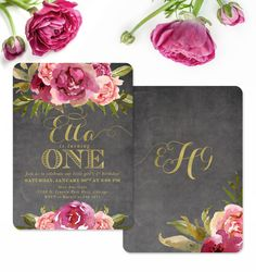 The Etta baby girl first birthday invitation features pretty burgundy and blush pink watercolor flowers, on a chalkboard background, with gold accents and a gorgeous monogram on the back! Can be made for any age.
