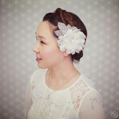 Bridal Hair Accessories - Ivory Wedding Hair Flower - Wedding Headpiece - Handmade Flower Hair Comb - Style FL1313-L