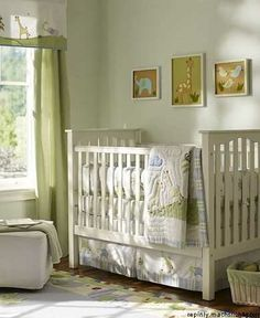 Jungle boys nursery. Love the soft greens