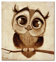I love the detail in the eyes and also the plump like shape to the owl. After doing a project involving an owl, I would've like to see this before completely mine. I also like the old school browns that were selected for the owl. Illustration Art, Illustrations, Character Illustration, Owl Art, Painting & Drawing, Amazing Art, Awesome, Art Projects, Graffiti