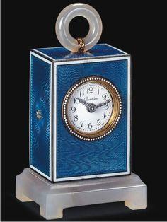 Elegant vintage silver and guilloche enamel desk clock by Cartier, France
