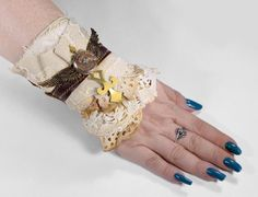 Steampunk BRiDAL Cuff LeATHER Lace Cuff LaRGE WINGS by edmdesigns