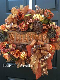 The Chic Technique: Fall Wreath Fall Deco Mesh Wreath Fall by FestivalofWreaths Autumn Wreaths For Front Door, Fall Wreaths, Christmas Wreaths, Christmas Crafts, Deco Mesh Garland, Deco Mesh Wreaths, Door Wreaths, Thanksgiving Wreaths, Thanksgiving Decorations