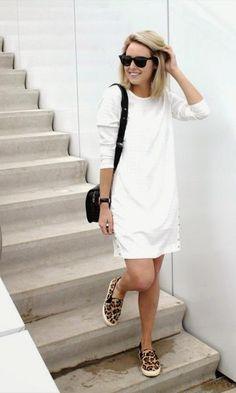 Look: Vestido Branco + Animal Print