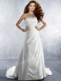 2015 Style A-line Strapless Court Train Elastic Woven Satin Wedding Dresses