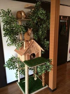 Dogs are not always house pets but cats usually are, the reason for which we are going to list 17 super adorable free cat tower plans for the little feline. cat 16 Adorable Free Cat Tower Plans For Your Furry Friend - The ART in LIFE Cat Tree House, Cat House Diy, Gnome House, Cat Tower Plans, Cat Tree Designs, Diy Cat Tree, Cat Trees Diy Easy, Cool Cat Trees, Cat Towers
