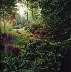 garden. green. purple flowers. shade. curved path. RP #allium