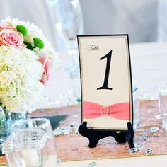 Glitter and Lace Table Numbers - Pink and Silver Glitter Wedding Table Number w/ White Lace - Table Card -  (ROUND BUCKLE TABLE #)