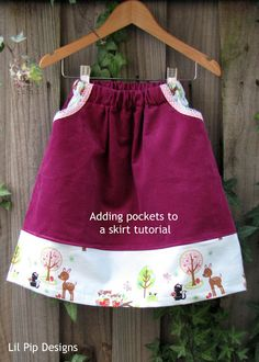 Lil Pip Designs: Tutorial: How to add pockets to a simple skirt
