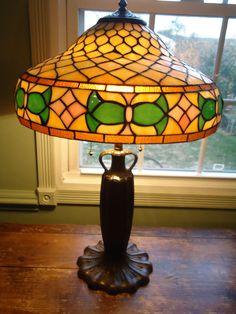 Vintage Miller Leaded Arts&Crafts Lamp, tiffany,handel, B&H Era.