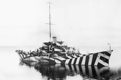 British Kil class patrol gunboat HMS Killbride painted in dazzle camouflage. Between 1916 and 1918