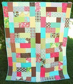 meandering path quilt.  one layer cake and one charm pack