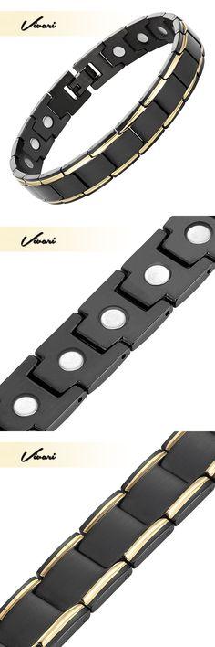 Vivari 2017 Bio Healing Unisex Stainless Steel Bracelet For Women 18pcs Magnets Magnetic Black Men Bangle Jewelry Wristband