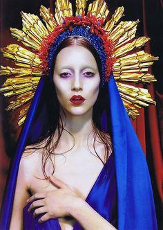 "Immaculée No.3, 2007 Photographer : Miles Aldridge Model : Alana Zimmer in Numéro Magazine Jean Paul Gaultier, Virgins (or Madonnas) collection, ""Regina Maris"" gown, haute couture, ss07"