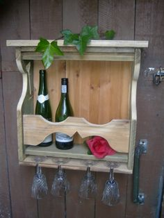 made by johnnie d d (Irish huckster reclaimed wood projects) Wine Carrier, Palette, Reclaimed Wood Projects, Wine Cabinets, Wine Racks, Bar, Recycling, Projects To Try, Glasses