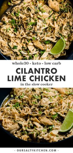 Allow me to introduce you to your new best friend, slow cooker cilantro lime chicken. This right here is perfectly seasoned, perfectly juicy restaurant quality taco chicken. It takes 10 minutes to prep and requires just a handful of clean, whole food ingredients. This cilantro lime chicken recipe checks lots of healthy boxes like low carb, Whole30, keto, and gluten free, but it's also a totally kid friendly Mexican recipe, and a freezer stash win! #chicken #slowcooker #keto #whole30