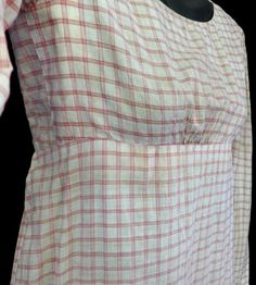 X RARE ANTIQUE 1810 REGENCY EMPIRE RED CHECK COTTON GOWN DAY DRESS FAB CONDITION | eBay